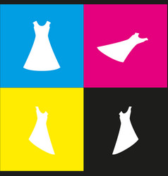 beautiful long dress sign  white icon with vector image