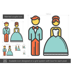 married couple line icon vector image