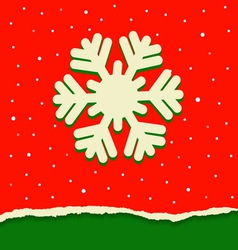 Red and green torn paper background with snowflake vector image
