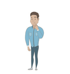 Hispanic businessman thinking with finger on chin vector