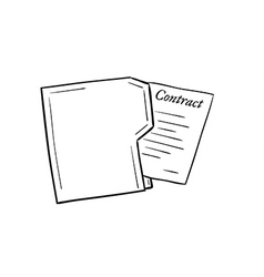 Folder with contract paper vector