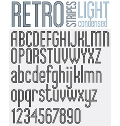 Parallel stripes retro style font vector