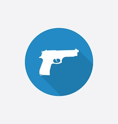 Gun flat blue simple icon with long shadow vector