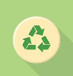 Flat style recycle sign icon with shadow vector