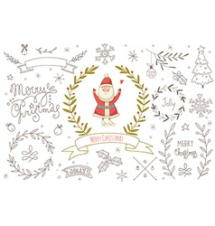 Set of hand drawn christmas elements with santa vector