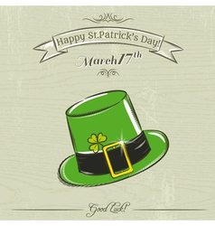 Card for st patricks day with green hat vector