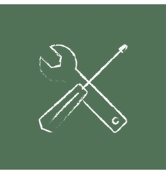 Screwdriver and wrench tools icon drawn in chalk vector
