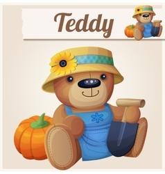 Teddy bear the gardener farmer cartoon vector