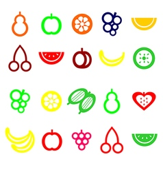 Set of colored fruit icons vector