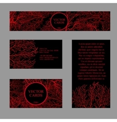 Four cards with the texture of red coral vector
