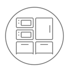 Household appliances line icon vector