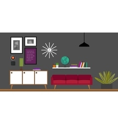 Living room home interior vector