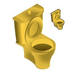 Gold toilet bowl isometric on white background sin vector