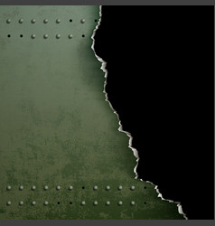 background of torn metal with rivets vector image