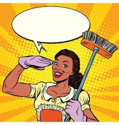 Beautiful woman cleaner with brush for floors vector image vector image