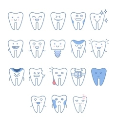 Big Dental Teeth Collection vector image