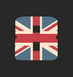 Capital number eight with uk flag texture vector
