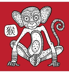 Chinese zodiac animal astrological sign monkey vector