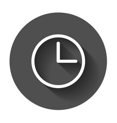 Clock icon flat clock pictogram with long shadow vector