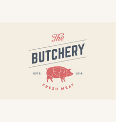 Emblem of butchery meat shop with pig silhouette vector