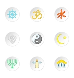 Faith icons set cartoon style vector
