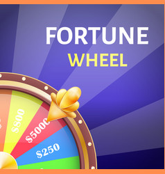 Fortune wheel poster with earnings in 5000 dollars vector