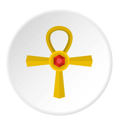 golden ankh symbol icon circle vector image