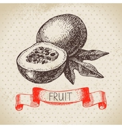 Hand drawn sketch passion fruit eco food vector