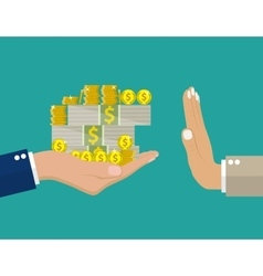 Hand giving money to other hand vector
