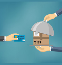 Hand with credit card and hand with parcel vector