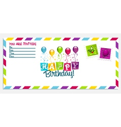 Happy Birthday Invitation Card vector image vector image