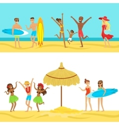 Happy people on tropical beach vacation in hawaii vector