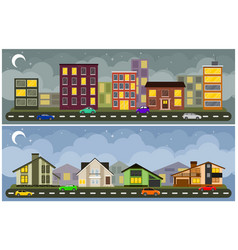 landscape and cityscape vector image vector image