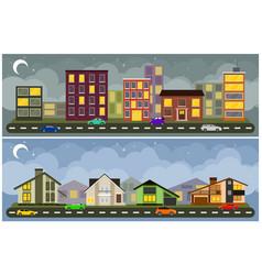 landscape and cityscape vector image