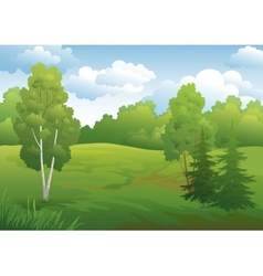 Landscape green summer forest vector image