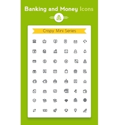 line online banking tiny icon set vector image vector image