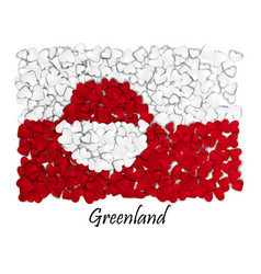 Love greenland flag heart glossy with love from vector