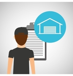 Man delivery checking warehouse design vector