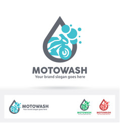 motorcycle wash logo bike care service brand vector image vector image