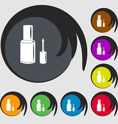 Nail polish bottle icon symbols on eight colored vector