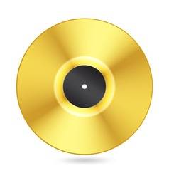 realistic golden vinyl disc vector image