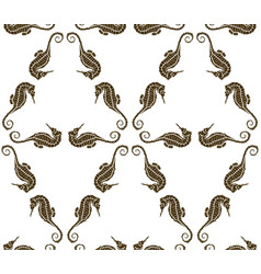 seamless pattern from seahorse silhouette vector image