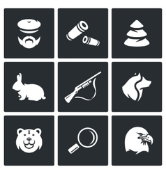 Set of Hunting Icons Hunter Ammunition vector image