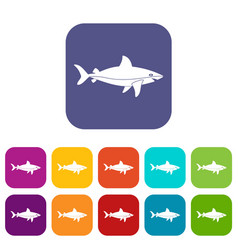 Shark fish icons set flat vector