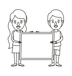 Silhouette caricature full body couple holding a vector