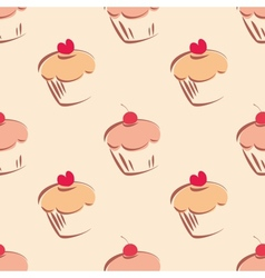 Tile cupcake pattern vector image vector image
