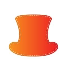 Top hat sign orange applique isolated vector