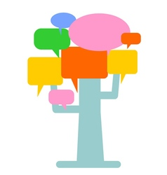 Tree with speech bubbles leaves vector image vector image