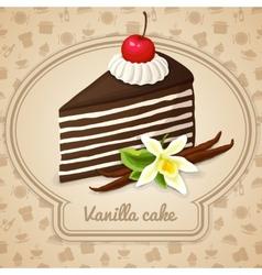 Vanilla layered cake poster vector
