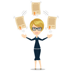 woman proudly standing and showing a diploma vector image vector image